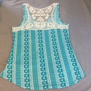 Crochet knit teal tank top XL